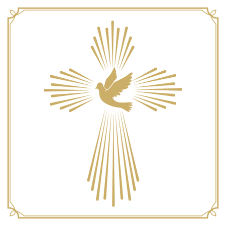 Cross with the dove. Church emblem template. Vector design element.