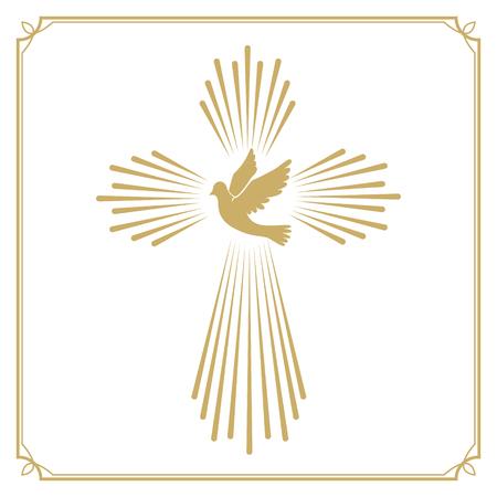 cruz religiosa: Cruz con la paloma. plantilla emblema iglesia. Elemento de diseño vectorial.