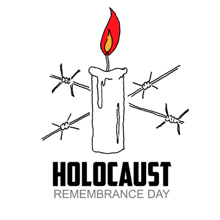 holocaust: Holocaust Remembrance Day. Candle with barbed wire. Holocaust.