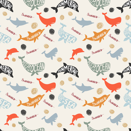 summertime: Seamless pattern with dolphins and whales. Summertime seamless pattern. Vector design element. Illustration
