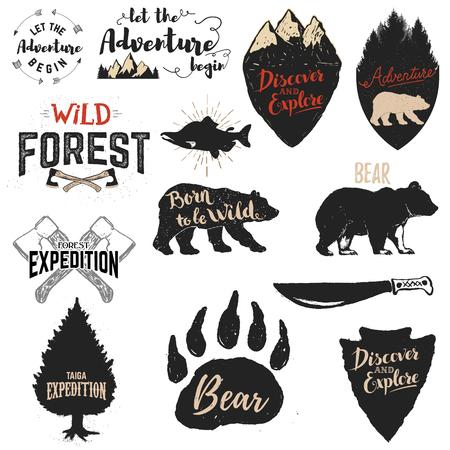 Laat het avontuur beginnen, Wild bos, Born to be wild, ontdekken en te verkennen. Expeditie labels en emblemen. Set van de vector design elementen en sjablonen voor labels, badges, emblemen, borden. Vector Illustratie
