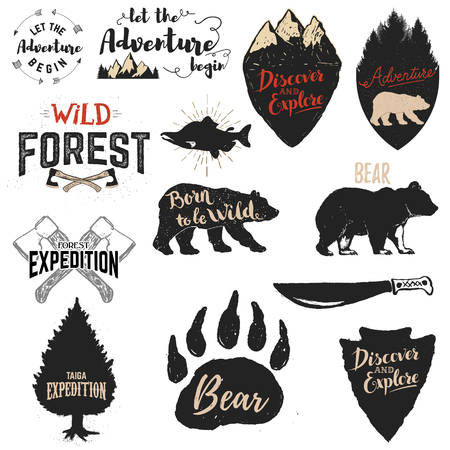 Let the adventure begin, Wild forest, Born to be wild, Discover and explore. Expedition labels and emblems. Set of the vector design elements and templates for labels, badges, emblems, signs.