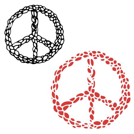 hacer el amor: muestra del hippie. Signo de la paz. la cultura hippie. Haz el amor y no la guerra. Elemento de diseño vectorial.