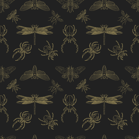 Gold and black insects seamless pattern. Pattern with insects. Beetle pattern. Vector design element. Ilustrace