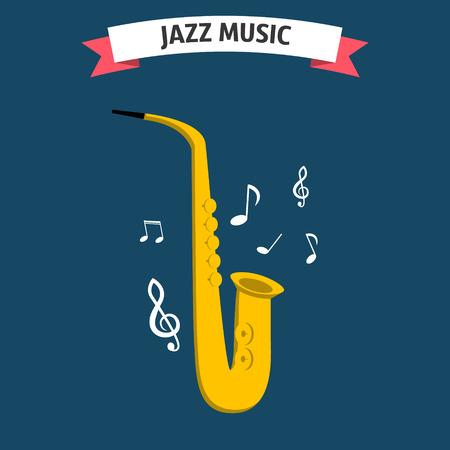 saxofón: icono de la música de jazz. estilo plano aislado saxofón. icono de saxofón. festival de música de jazz. logotipo de saxofón. vector de saxofón.