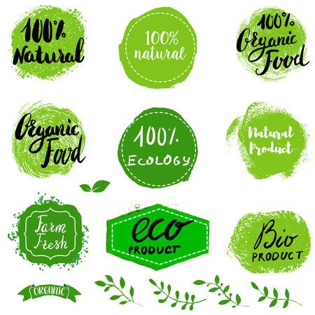 Set of Eco healthy Food labels, emblems and design elements. 100% Natural. Farm fresh. Healthy Food. Organic Food. Natural Food. Vector design elements.