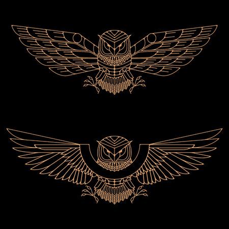 Set of the gold owls in line style. Owl logo. Owl icons. Vector design element for label, logo, badge, emblem.