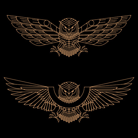 Set of the gold owls in line style. Owl logo. Owl icons. Vector design element for label, logo, badge, emblem.