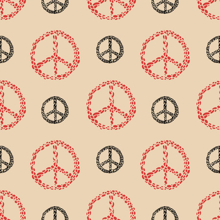 pacificist: Peace sign seamless pattern. Hippie sign. Make Love, not war.