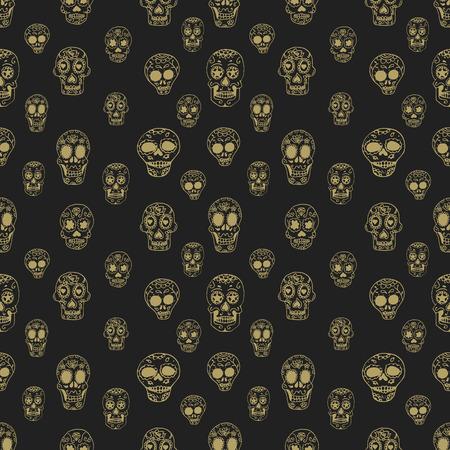 muertos: Seamless pattern with sugar skulls. Day of Los Muertos. Sugar skull. Day of the dead. Vector design element.