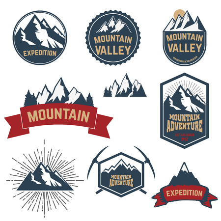 ice axe: Set of the mountain exploration labels, emblems and design elements. Vector labels with mountains, trees, ice axe. Adventure, outdoor activity symbols. Illustration