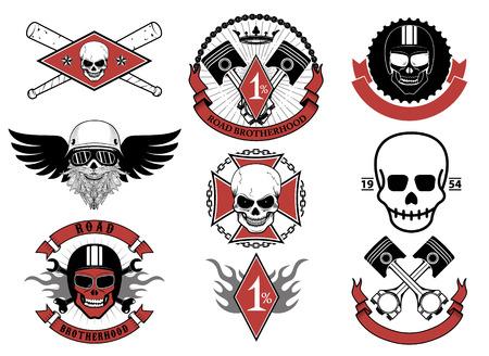 racing sign: Racing icons. Racers skulls. Biker skulls emblems. Vector design elements and templates for label, logo, emblem,badge, sign.
