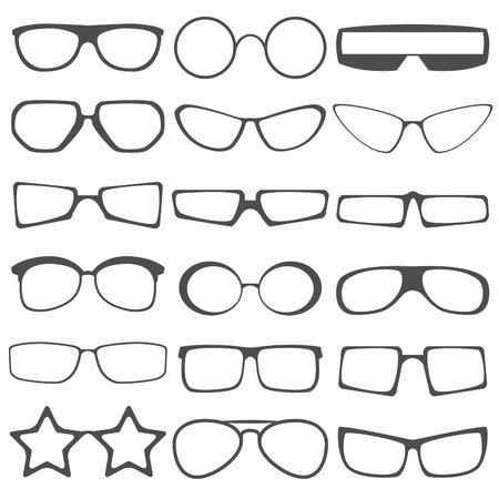 sun glasses: Set of the different sun glasses silhouettes.  Sun glasses icons. Disco sun glasses. Sun glasses logo.