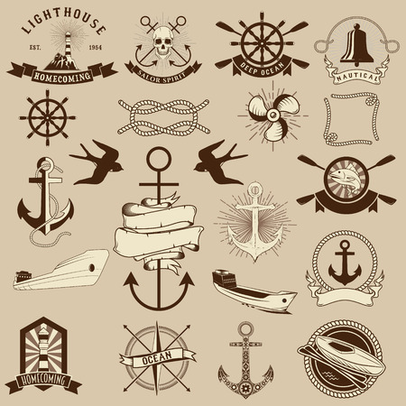 nautic: Set of the nautical emblems and design elements. Ships, anchors, Lighthouse, compass. Marine design elements.
