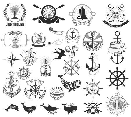 yachting: Set of the nautical labels, emblems and design elements. Lighthouse, yachting, deep ocean, anchors, whales, dolphins. Nautical animals icons. Marine life. Set of the vector  elements for nautical emblems and signs.