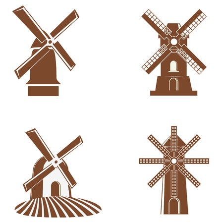 spinning windmill: Set of vector windmill icons. Windmill logo. Windmill label, badges, emblems. Vector design elements.