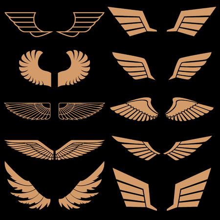 Satz von Flügeln in Vektor. Gold-Stil Vektor-Flügel. Flügel-Icons. Flügel-Logo. Vector Design-Element. Illustration