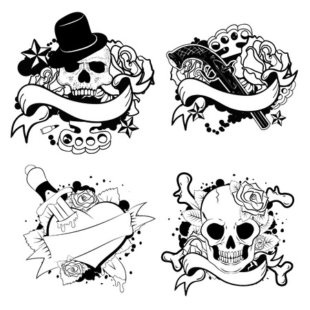 Set of old style tattoo templates. monochrome tattoo. Vector design elements.