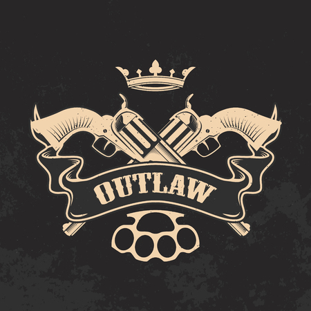 Outlaw. Two revolvers on grunge background. T-shirt print template. Illustration