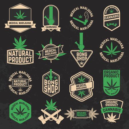 bong: Set of cannabis, marijuana, bong shop labels, badges and design elements. Medical marijuana. Cannabis icons. Bong icons. Vector design elements on grunge background. Illustration