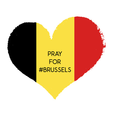 securing: Pray for Brussels.Terrorist attack in Brussels. Explosions in Brussels. Mourning.