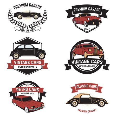 car tuning: Set of  retro car service emblems. Vintage vehicle, repair automotive, tuning and restoration. Vector illustration