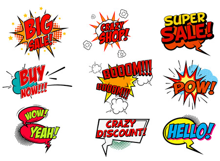 Set of pop art style phrases. Big Sale. Buy Now. Crazy Shop. Super Sale. Wow. Hello. Set of vector design elements.