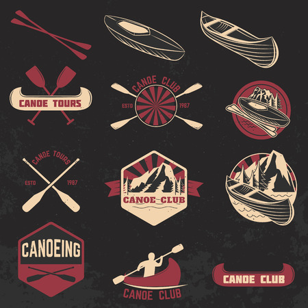 canoeing: Set of canoe club labels, badges and design elements. Canoe sport. Canoe icon. Vector design elements. Illustration