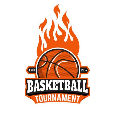 Basketball tournament emblem template. Basketball ball. Basketball icon. Burning ball. Design element in vector.