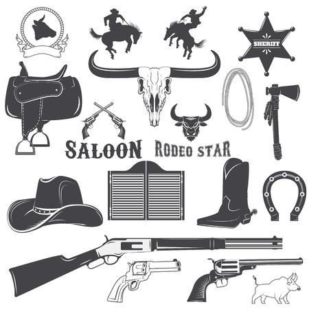 Conjunto de elementos para el diseño etiquetas salvaje oeste. Vaquero.