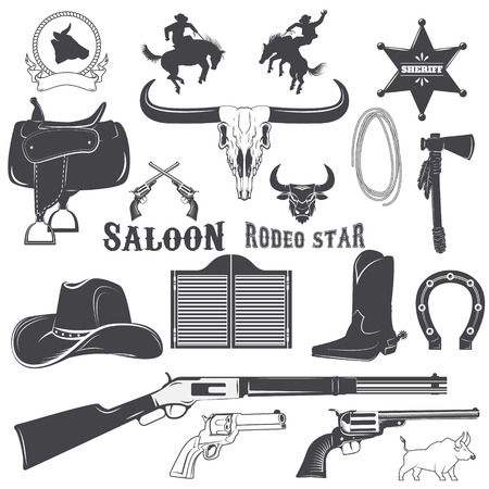 riding boot: Set of elements for wild west labels design. Cowboy.