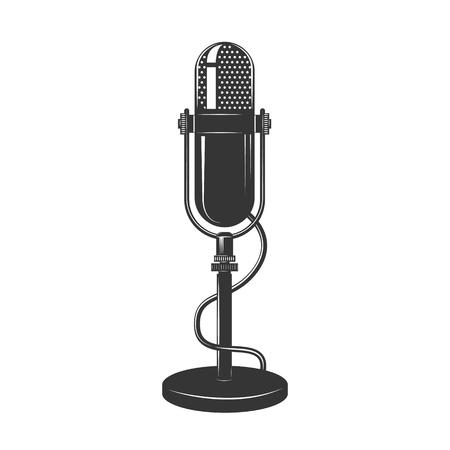 Retro Schwarz-Weiß-Mikrofon-Symbol. Altes Mikrofon Illustration. Vintage-Mikrofon auf weißem Hintergrund isoliert. Vektorgrafik