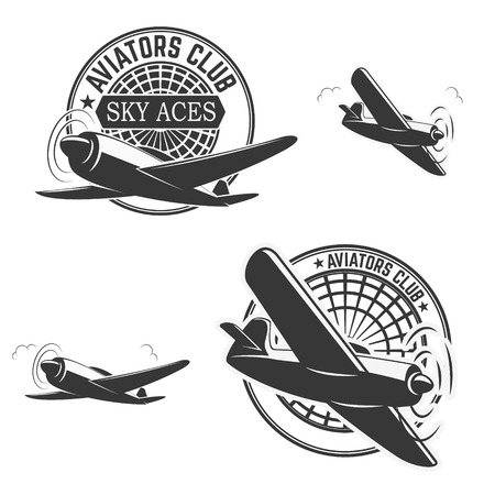 avia: Set of aviators club labels. Planes icons. Avia club emblems.