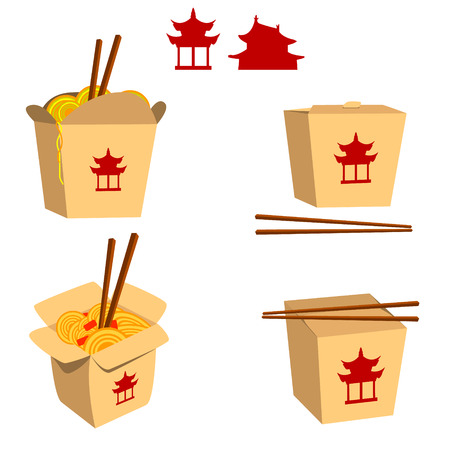 chinese take away container: Set of China food boxes illustrations isolated on white background. China food icons. Fast food. Vector design element.