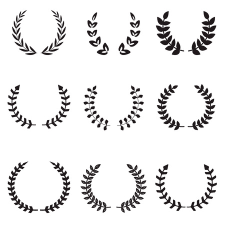 wreaths: Set of different wreaths. Wreaths icons. Vector design elements. Illustration