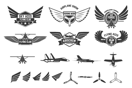 avia: Set of flying club labels and emblems. Planes icons. Avia club emblems. Aeroplane trips.
