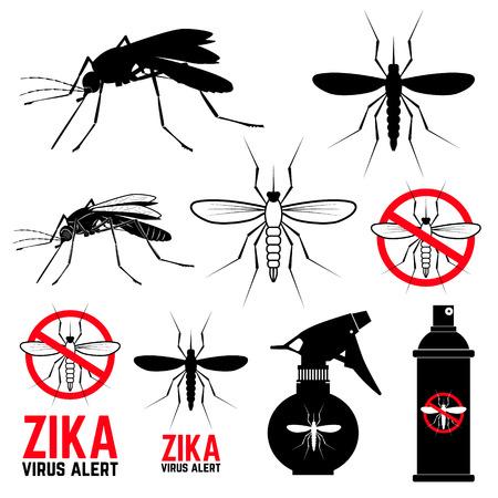 蚊のアイコンのセットです。ジカ ウイルスの警告。防蚊。蚊のエンブレム。ベクターでデザインした要素のセットです。