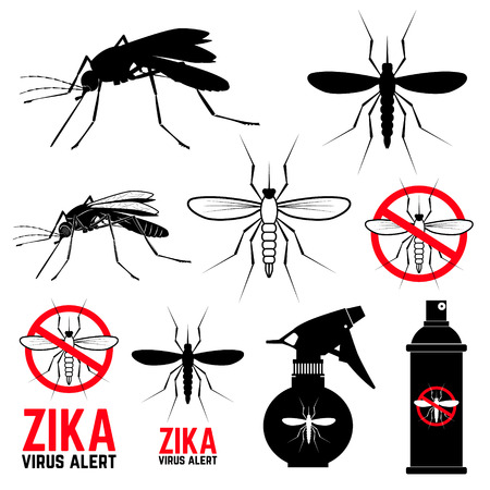 Set of mosquito icons. Zika virus alert. Anti mosquito. Mosquito emblems. Set of design elements in vector.