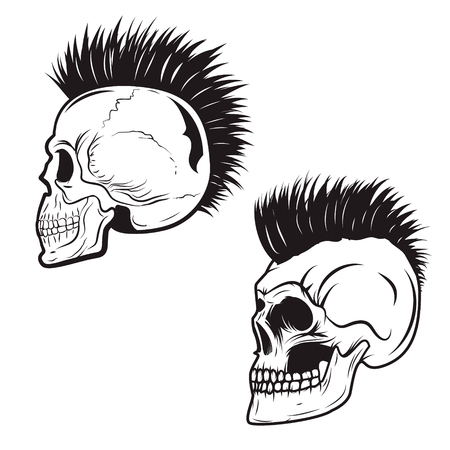 Set of skull with mohawk hairstyle isolated on white background. Skulls with hair. Vector design element.