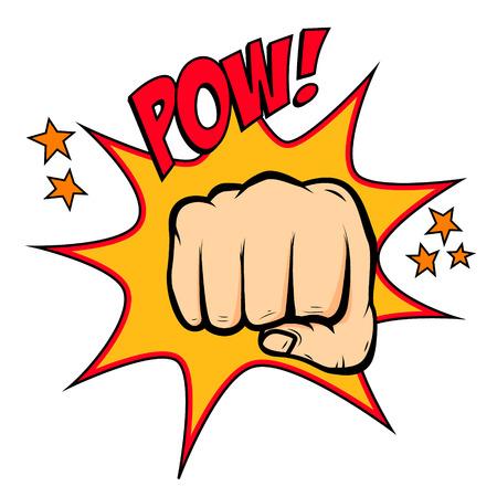 Fist hitting  in pop art style. Fist punch. Fist illustration in pop art style. Pow!!! Vector design illustration.