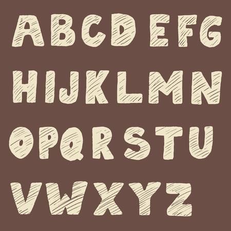 serif: Handwritten font. Hand drawn sans serif type. Design element in vector. Illustration