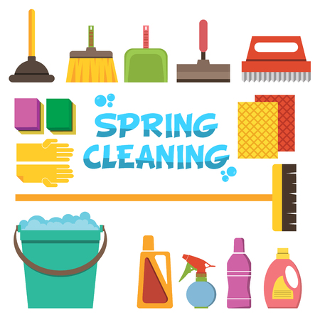 spring cleaning: Spring Cleaning flat design illustration. Cleaning icons vector set. Icons of clean service and cleaning tools. Design elements in vector.