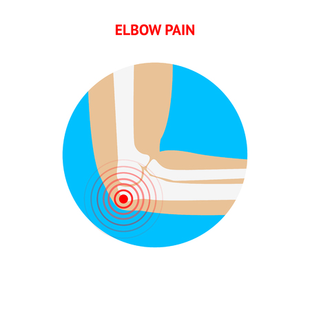joint effort: Elbow pain. Elbow pain icon isolated on white background. Human Elbow. Vector design element.