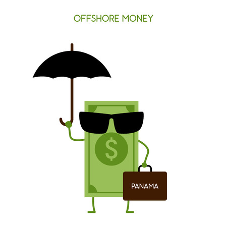 avoidance: money hidden in an offshore zone. Tax avoidance. Panama offshore zone. Illustration