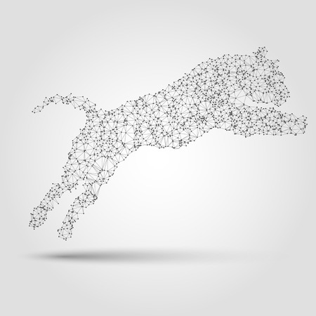 Abstract tiger silhouette from dots and lines. Design element in vector.
