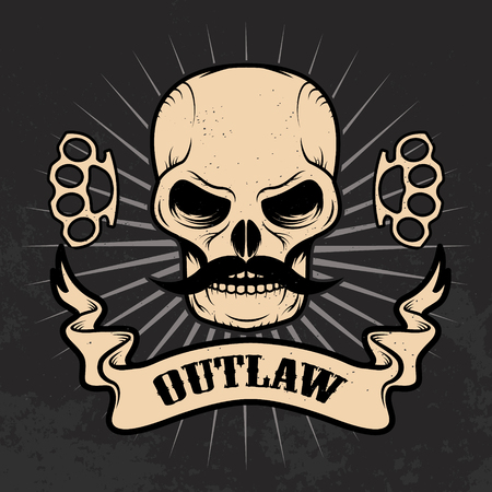 outlaw: Outlaw. Skull with moustache on grunge background. T-shirt print template.