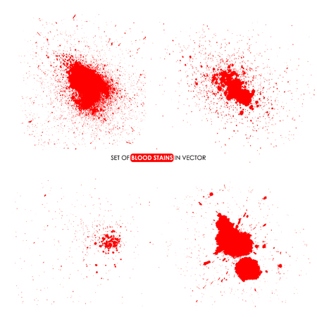 Abstract red color splatter on white background. Blood stains. Design elements in vector.