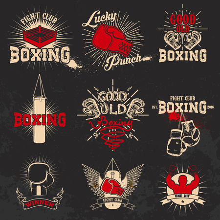 Boxing. Boxing club labels on grunge background. T-shirt print template. Design elements for lable or emblem.