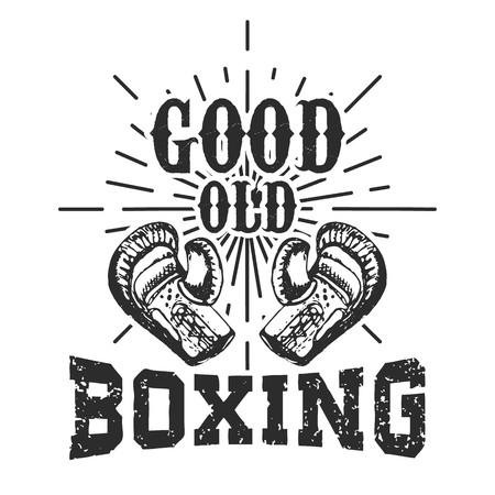elements for logo: Good old boxing. T-shirt print template. Design elements for logo, labe, emblem.