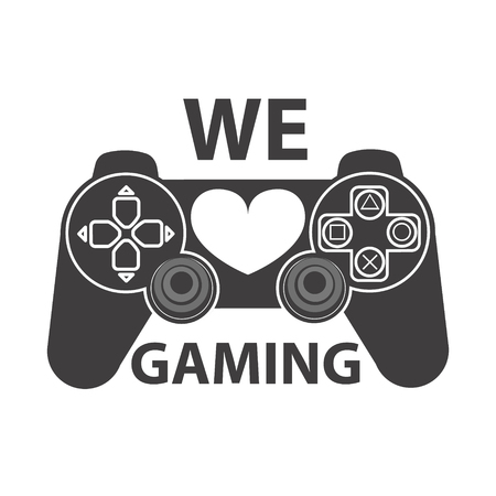 Video gaming icon. We love gaming. Game console icon. Design element for logo, label, emblem, badge. Vector design element. Çizim